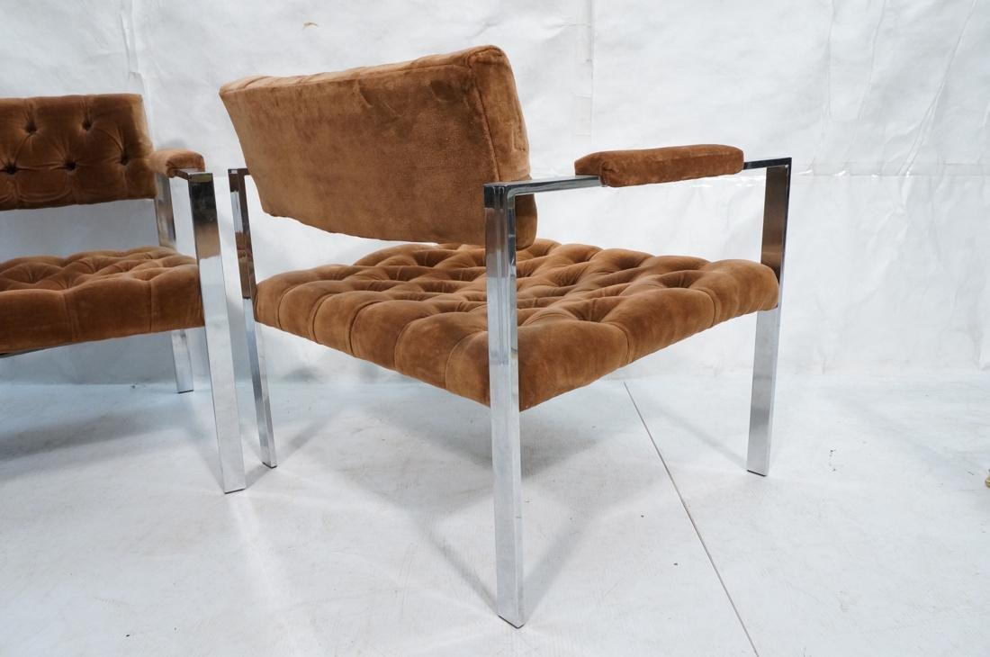 Pr MILO BAUGHMAN Chrome Frame Lounge Chairs. Flat - 8