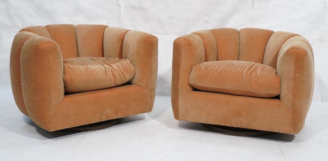Pr Swivel MILO BAUGHMAN Lounge Chairs.  Pale peac