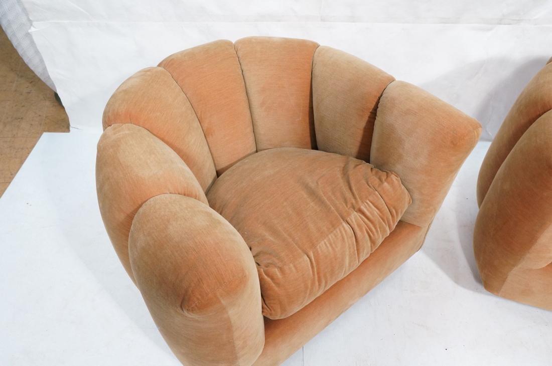 Pr Swivel MILO BAUGHMAN Lounge Chairs.  Pale peac - 2