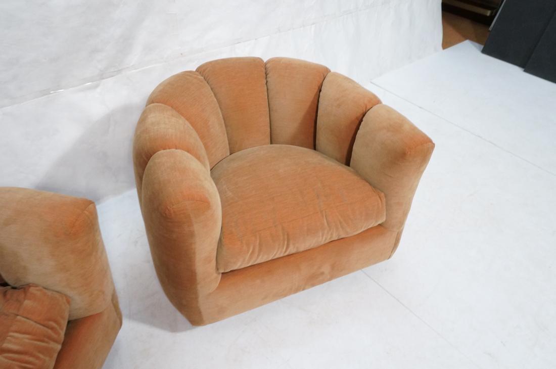 Pr Swivel MILO BAUGHMAN Lounge Chairs.  Pale peac - 3