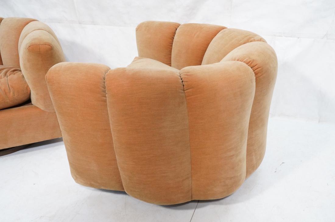 Pr Swivel MILO BAUGHMAN Lounge Chairs.  Pale peac - 4