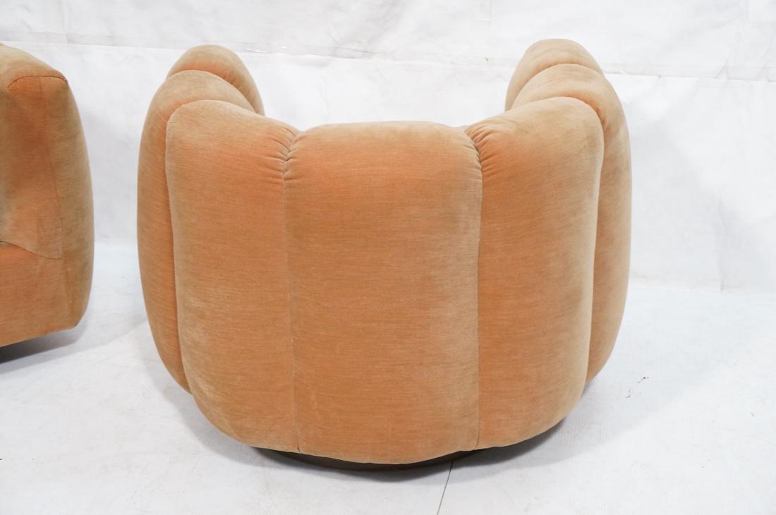 Pr Swivel MILO BAUGHMAN Lounge Chairs.  Pale peac - 7