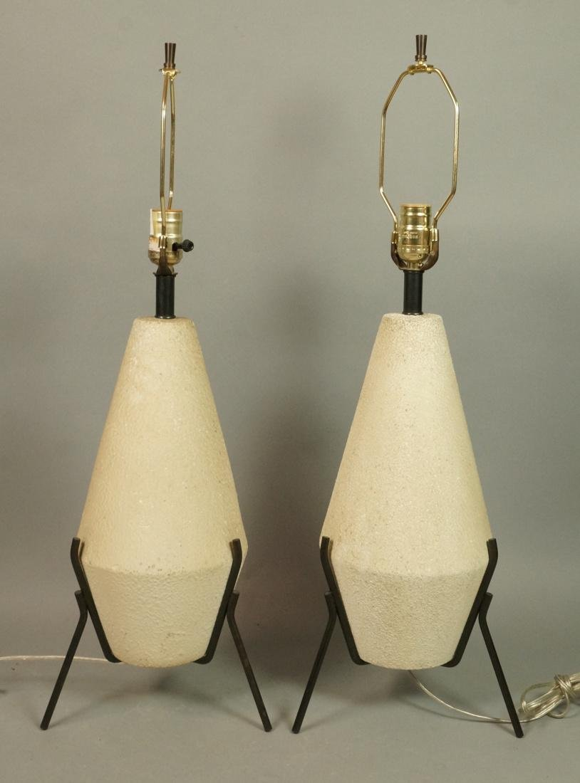 Pr Modernist BOSTLUND Textured Pottery Table Lamp