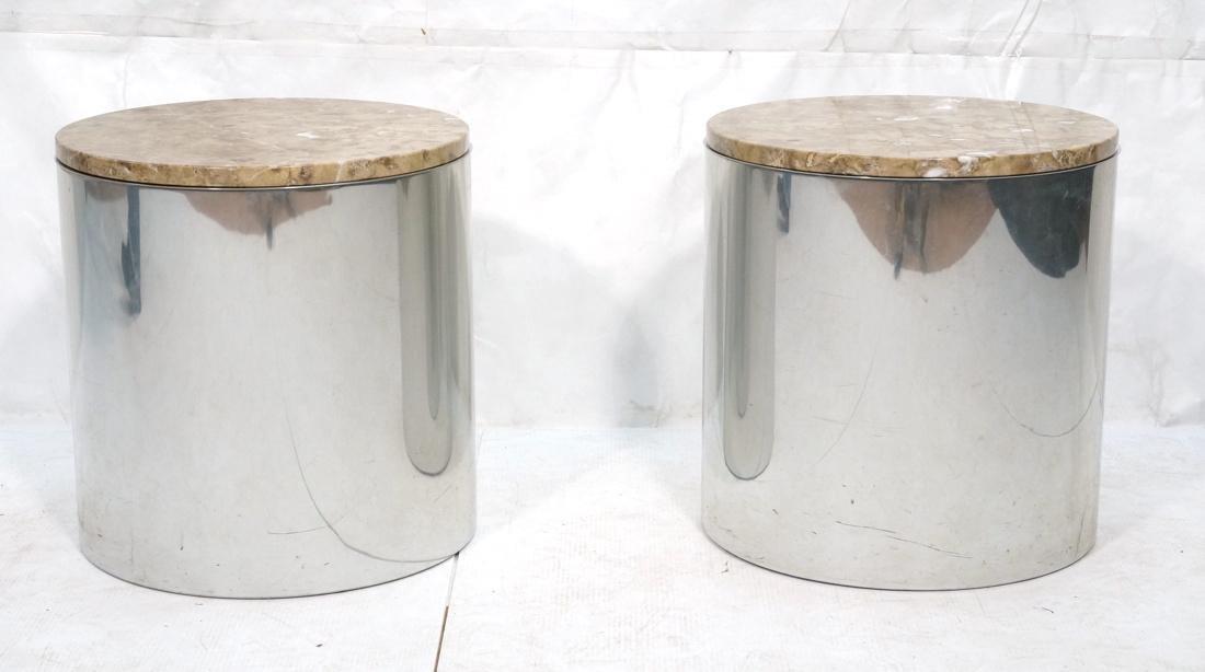 Granite Top Steel Drum Side Tables. Steel cylinde