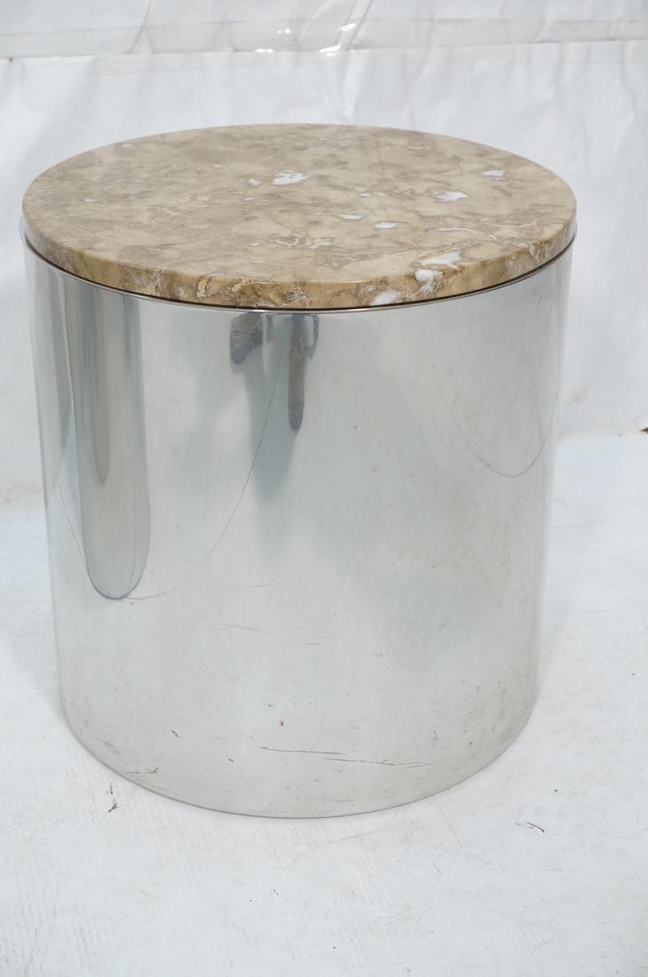 Granite Top Steel Drum Side Tables. Steel cylinde - 3