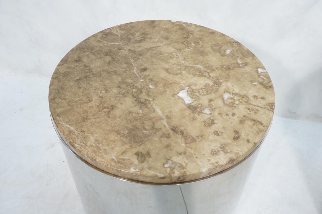 Granite Top Steel Drum Side Tables. Steel cylinde - 4