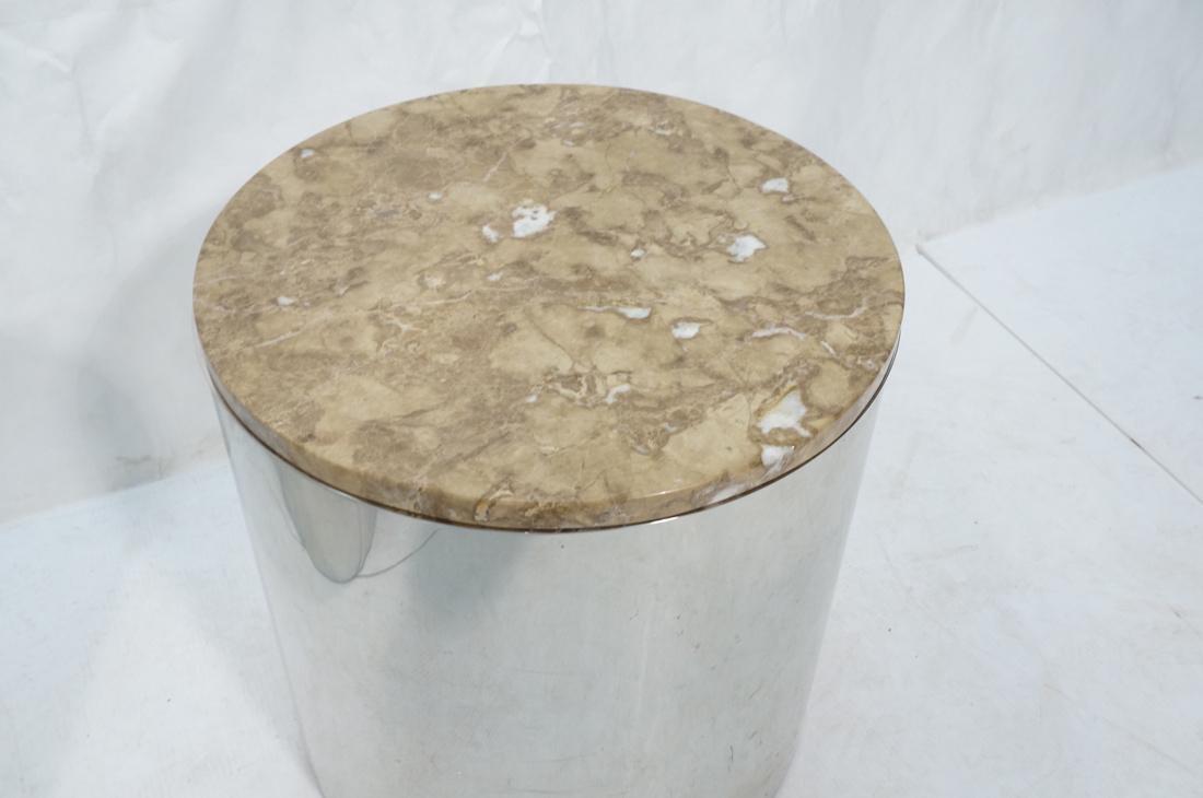 Granite Top Steel Drum Side Tables. Steel cylinde - 5