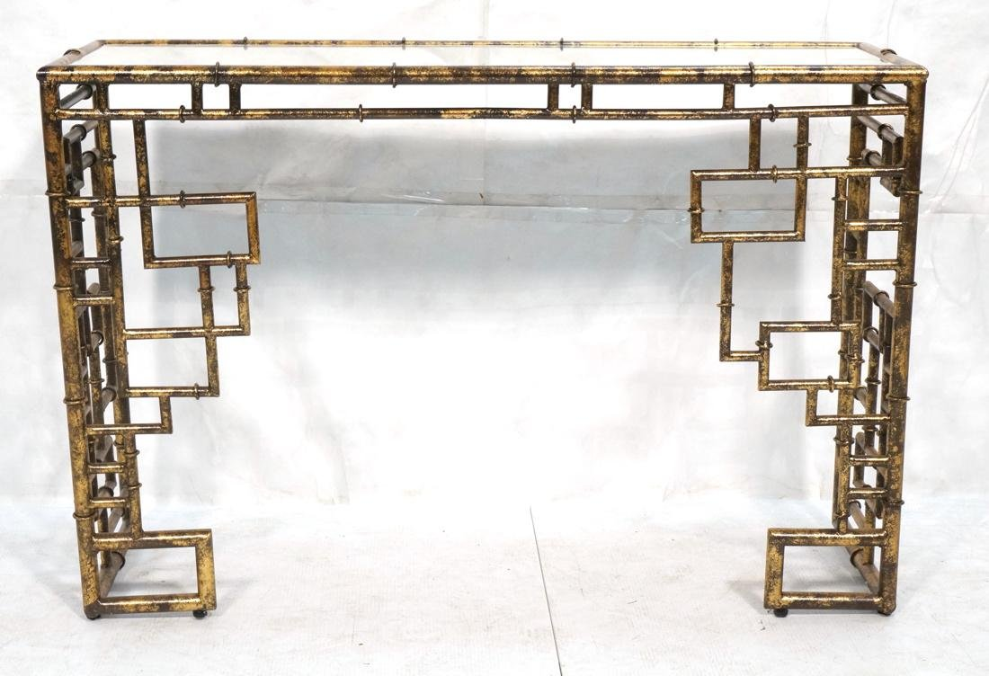 Decorator Metal Faux Bamboo Console Hall Table. M