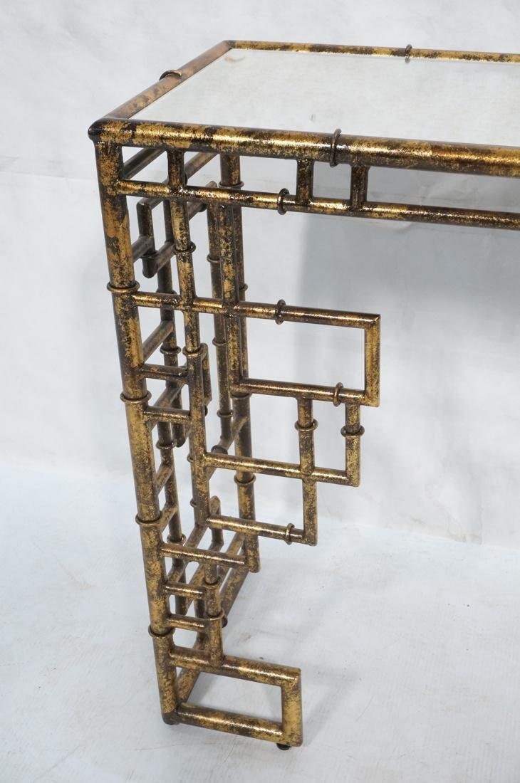 Decorator Metal Faux Bamboo Console Hall Table. M - 2