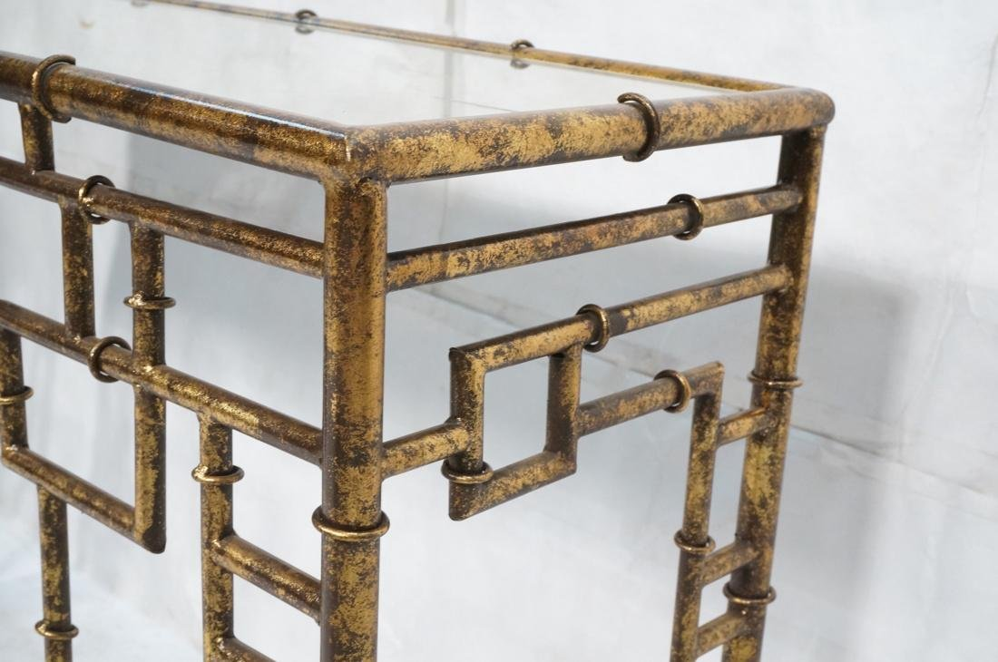 Decorator Metal Faux Bamboo Console Hall Table. M - 6