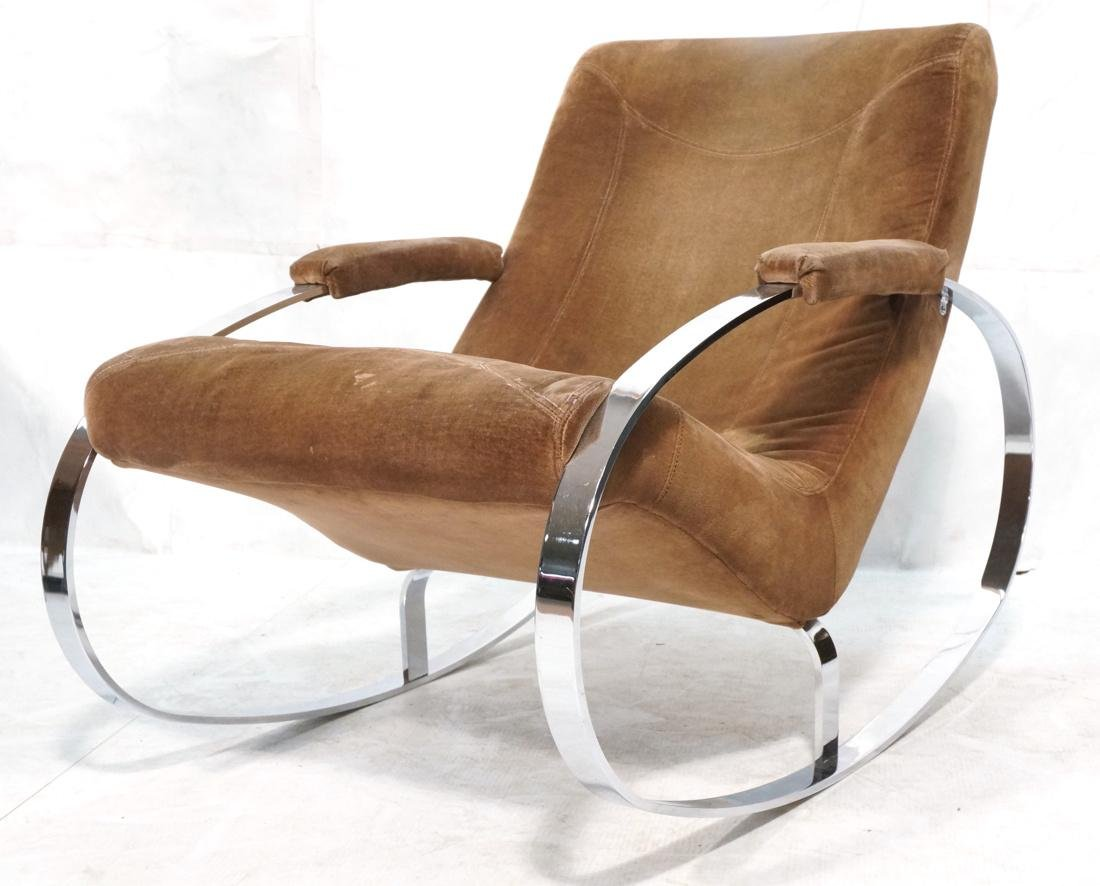 Modernist Heavy Chrome Steel Rocker Rocking Chair