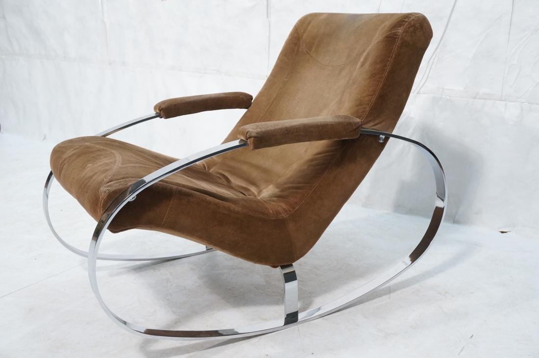Modernist Heavy Chrome Steel Rocker Rocking Chair - 2