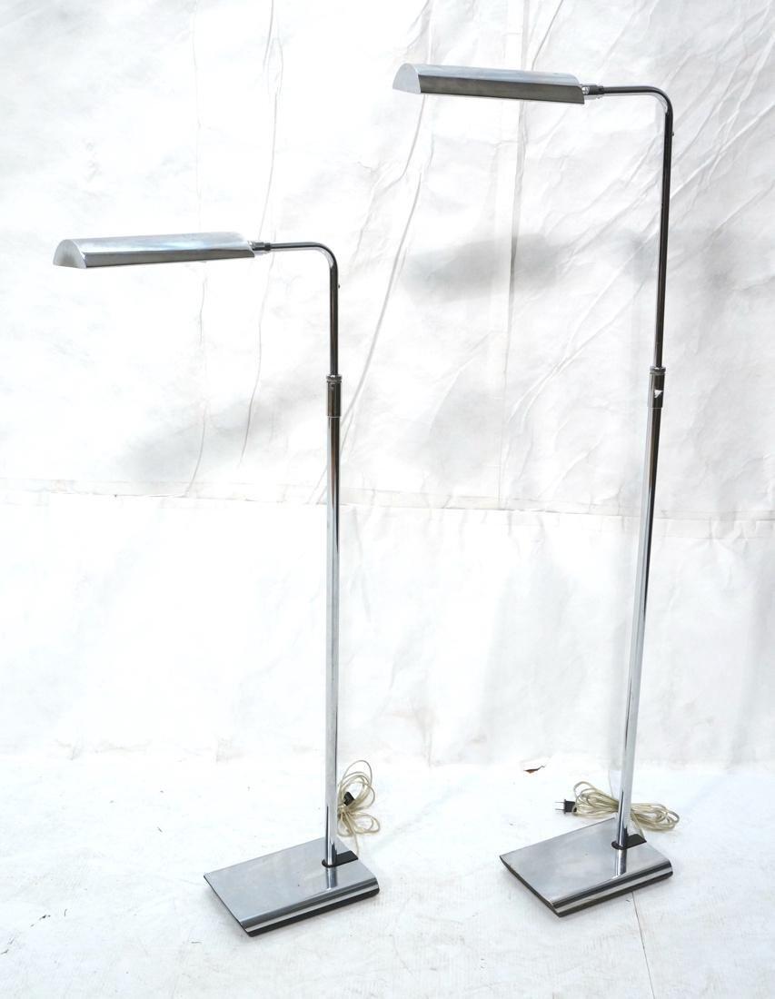 Pr KOCH & LOWY Chrome Modern Floor Lamps. Adjusta