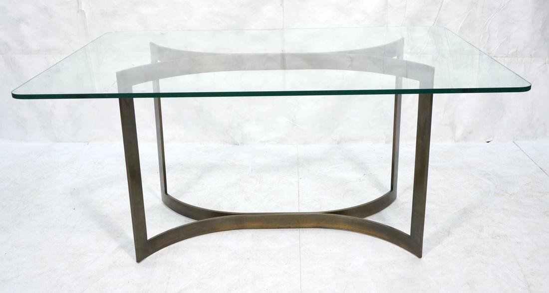 Modernist Bronze Glass Top Dining Table. Double c
