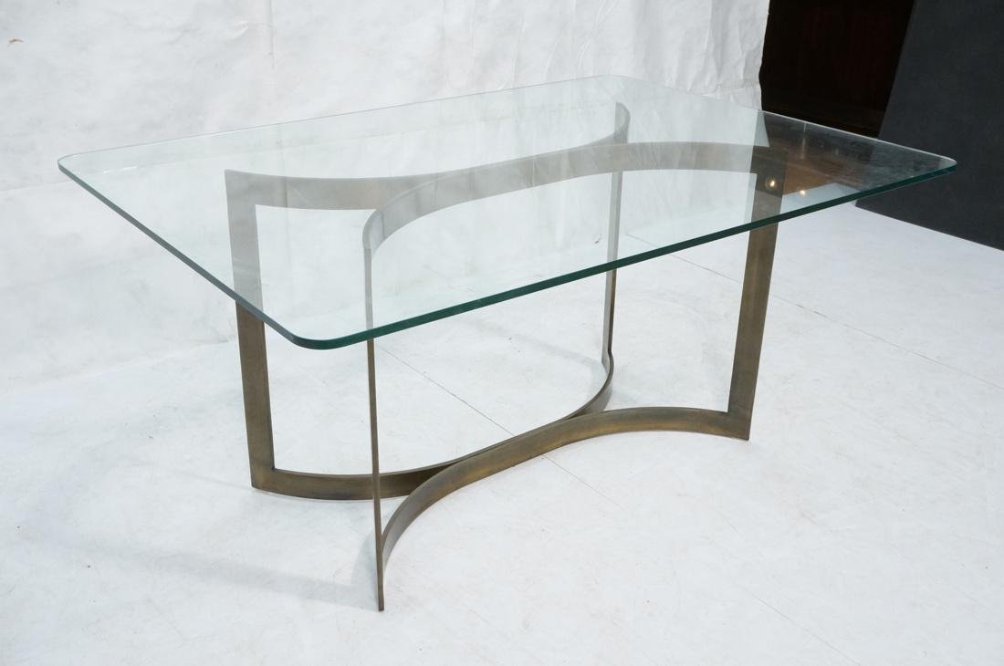 Modernist Bronze Glass Top Dining Table. Double c - 2