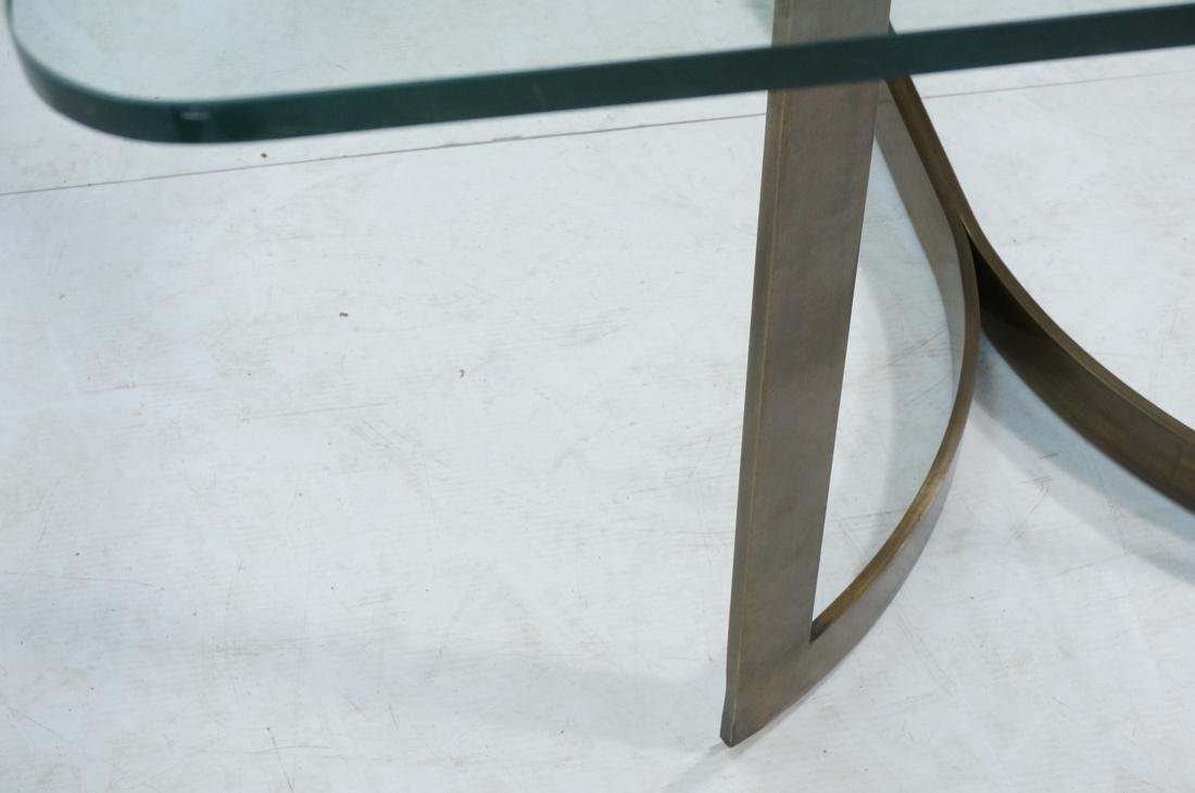 Modernist Bronze Glass Top Dining Table. Double c - 8