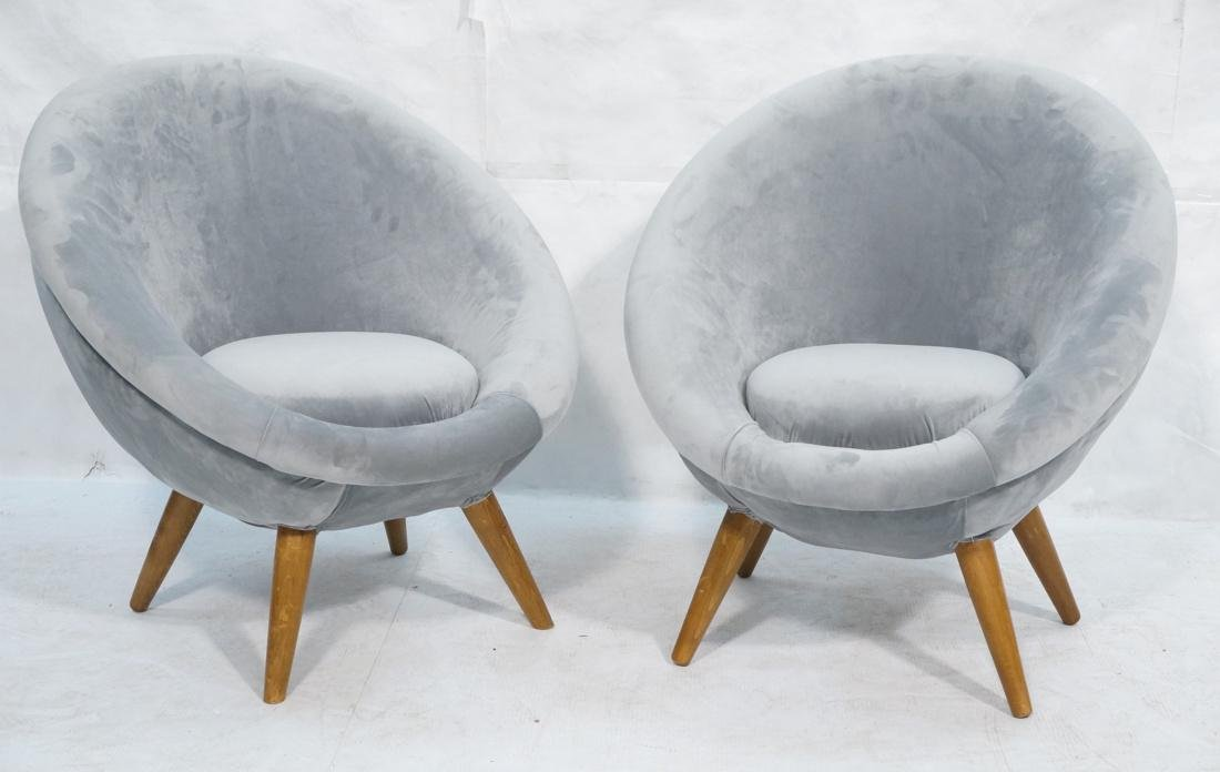 Pr Italian style Rounded Form Lounge Chairs. Pale