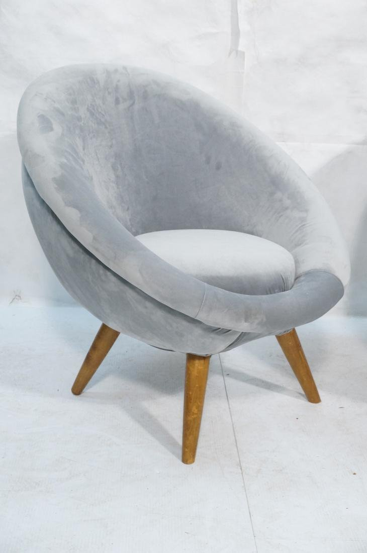 Pr Italian style Rounded Form Lounge Chairs. Pale - 2