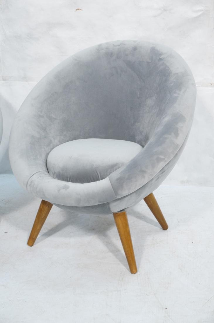 Pr Italian style Rounded Form Lounge Chairs. Pale - 3