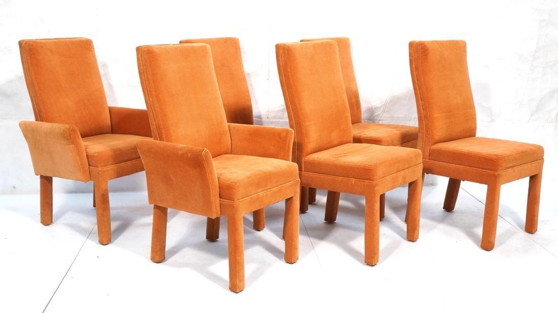 Set of 6 Orange Fabric Modernist Dining Chairs. C