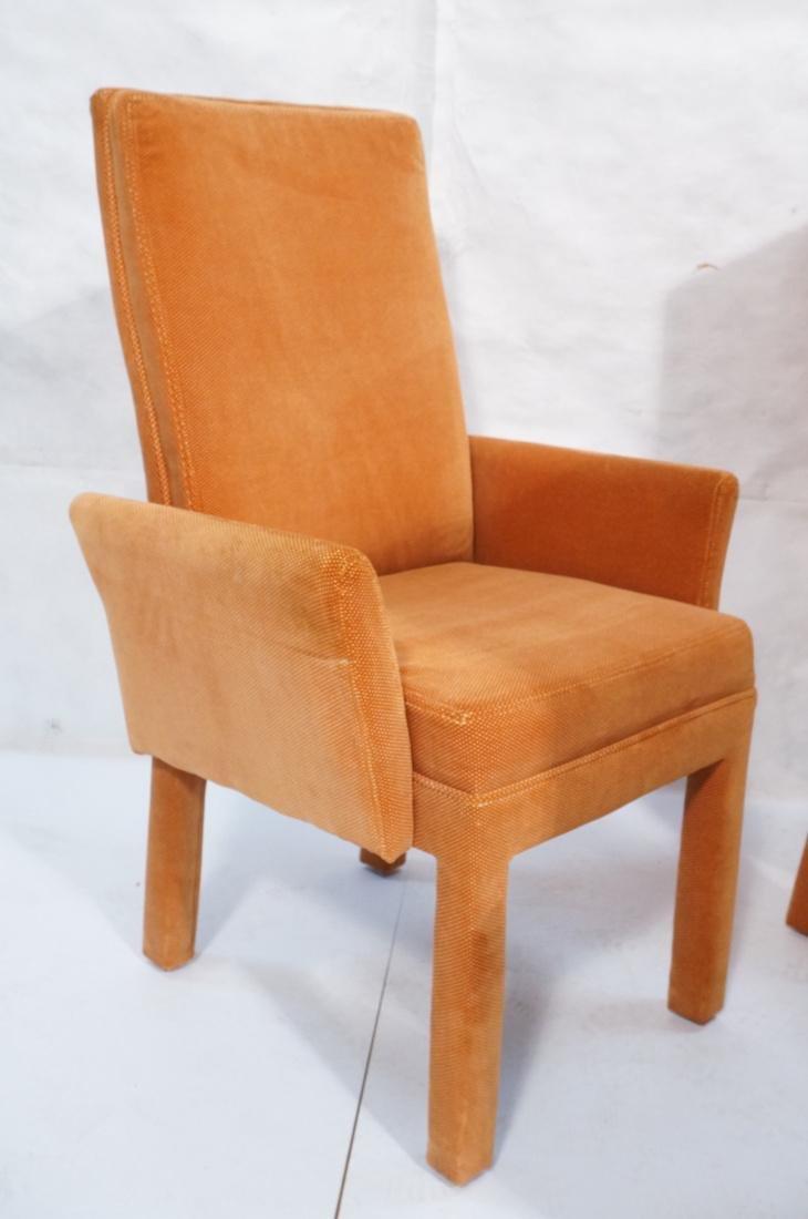Set of 6 Orange Fabric Modernist Dining Chairs. C - 2