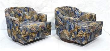 Pr SELIG MONROE Swivel Lounge Chairs Dark wood r