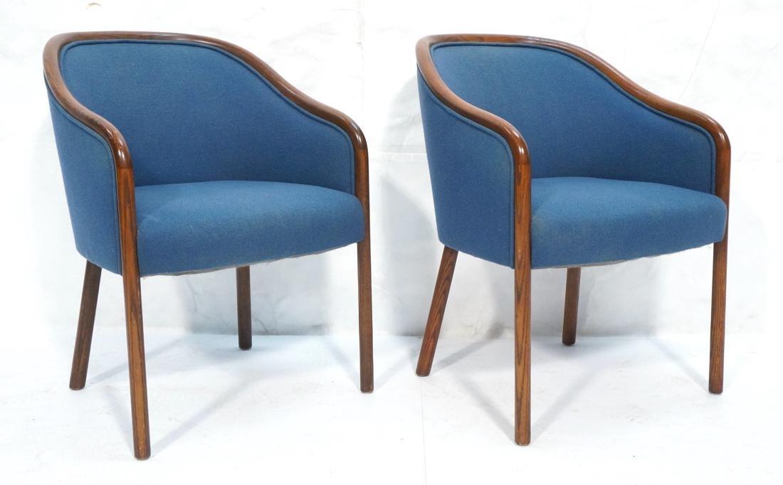 Set of 2 WARD BENNETT Side Chairs. Sloped wood