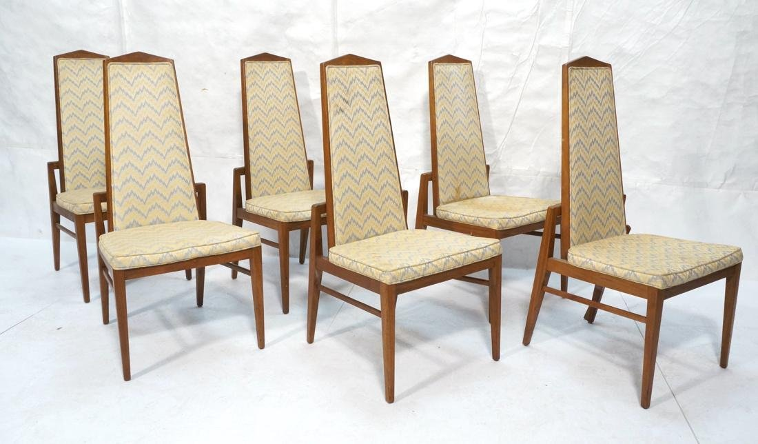Set of 6 Tall Back American Modern Dining Chairs.