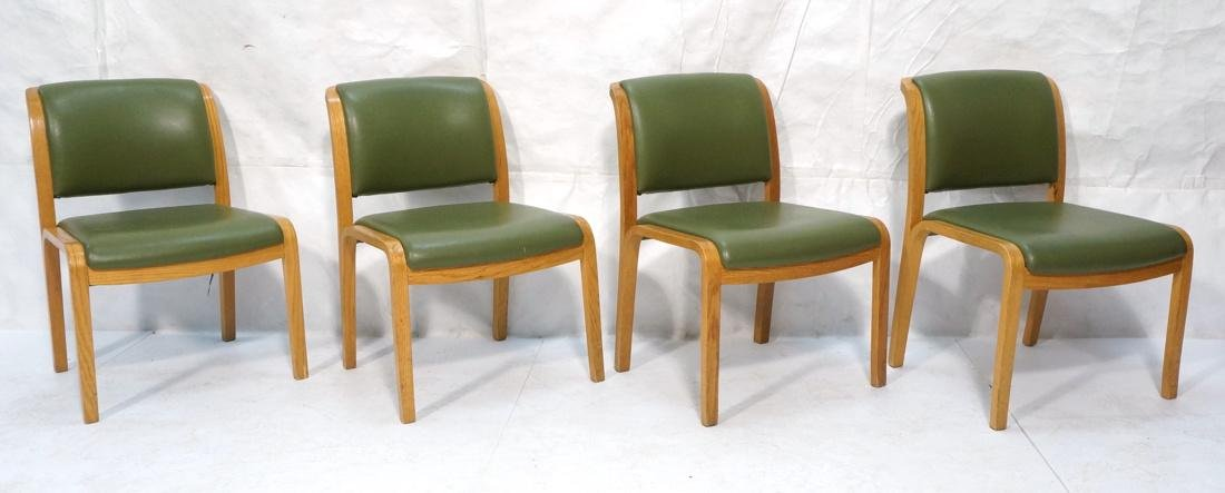 Set of 4 THONET Modernist Oak Side Chairs. Green