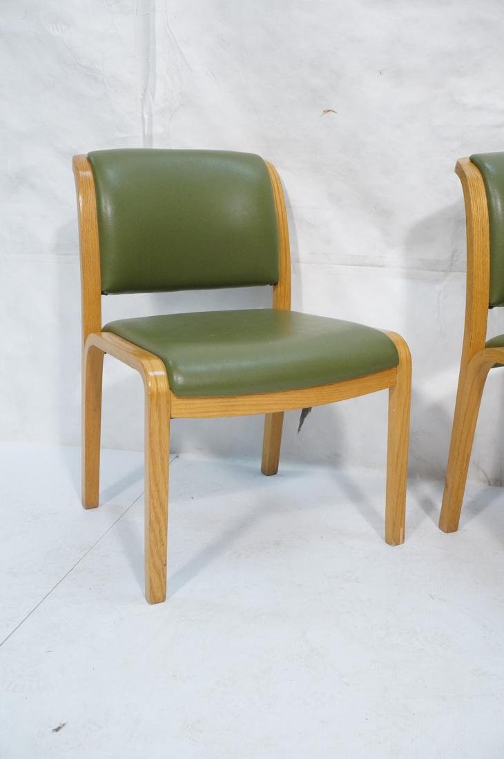 Set of 4 THONET Modernist Oak Side Chairs. Green - 2