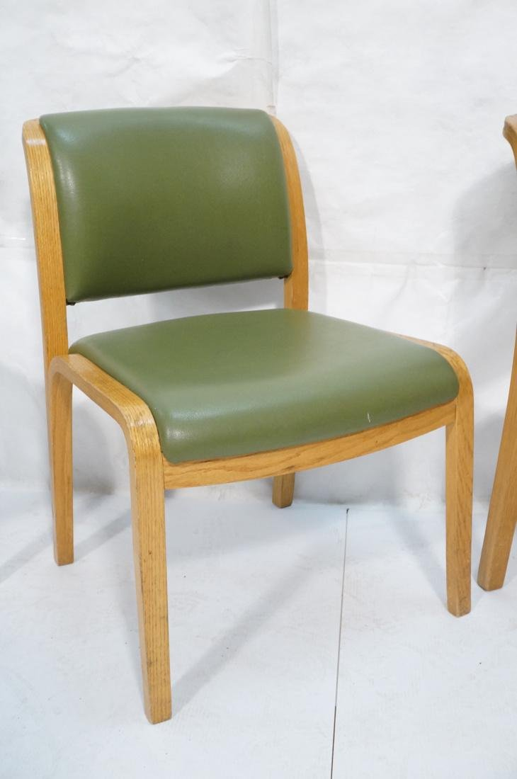 Set of 4 THONET Modernist Oak Side Chairs. Green - 3