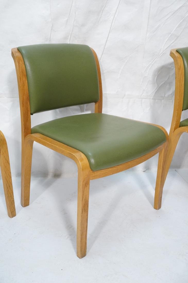 Set of 4 THONET Modernist Oak Side Chairs. Green - 4
