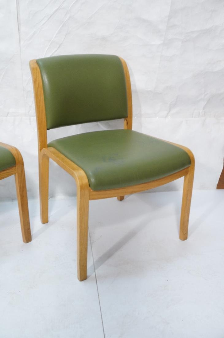Set of 4 THONET Modernist Oak Side Chairs. Green - 5