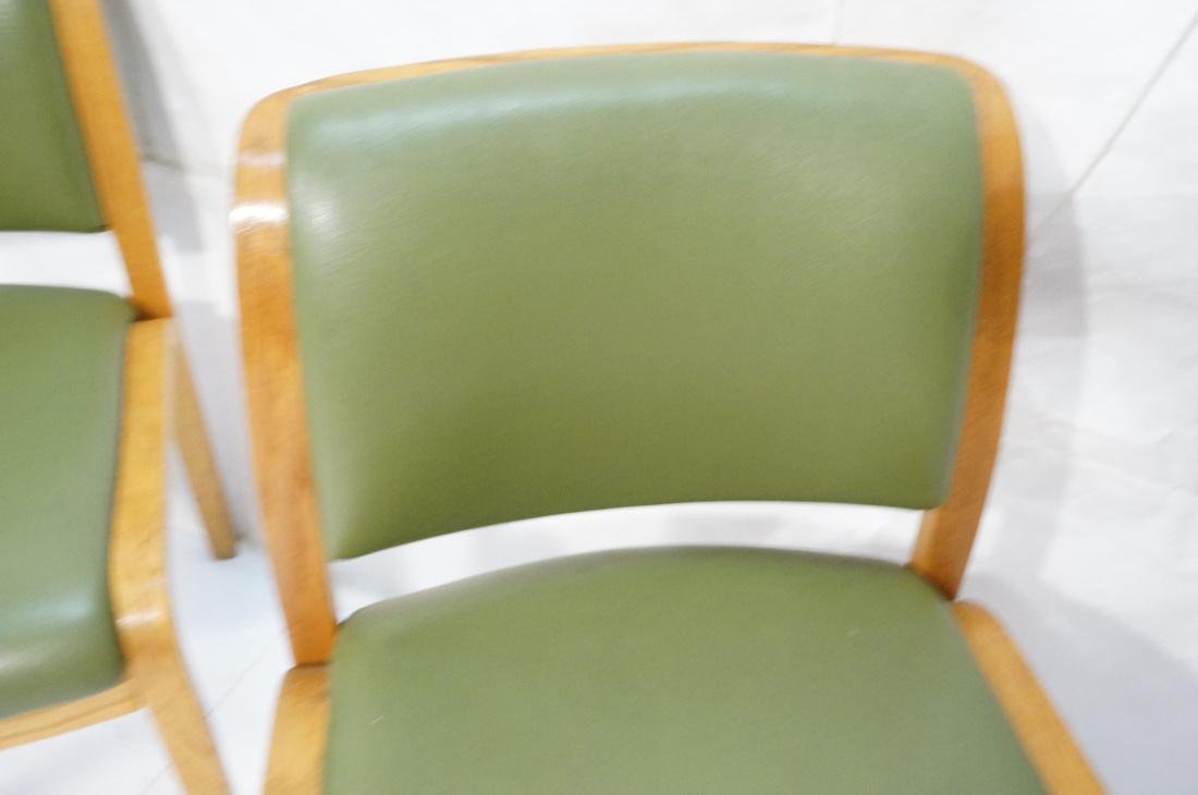 Set of 4 THONET Modernist Oak Side Chairs. Green - 6