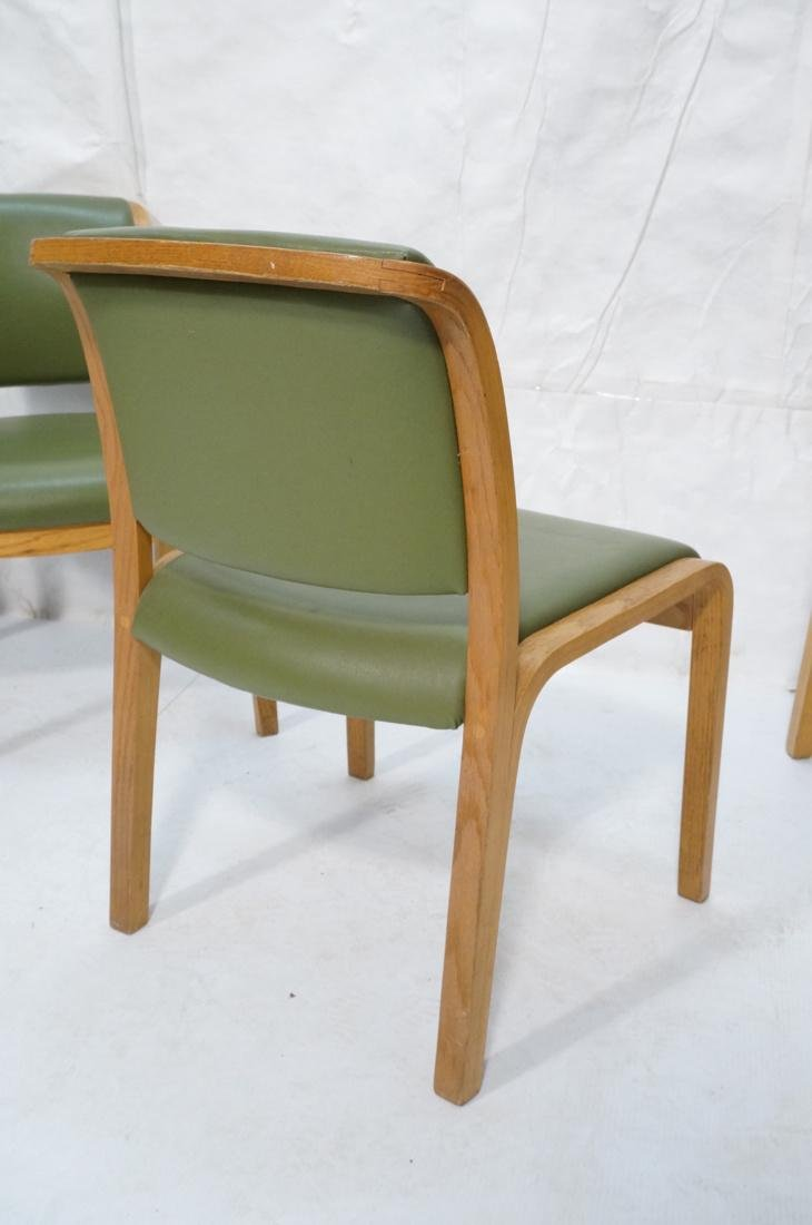 Set of 4 THONET Modernist Oak Side Chairs. Green - 8