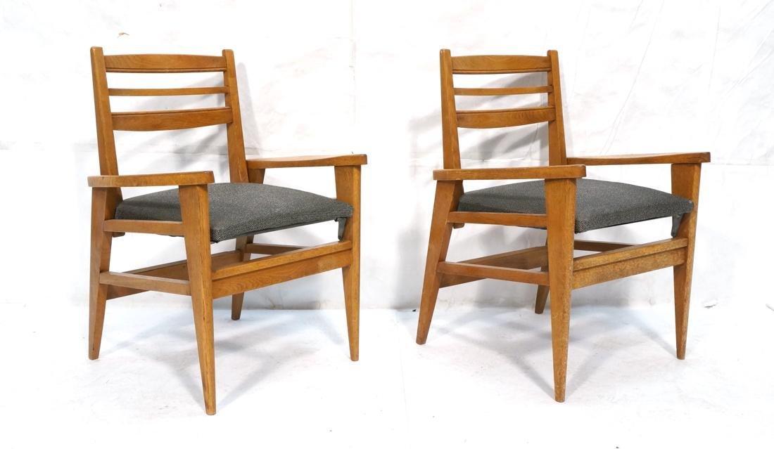 2 Modernist Oak Adjustable Side Lounge Chairs. Ad