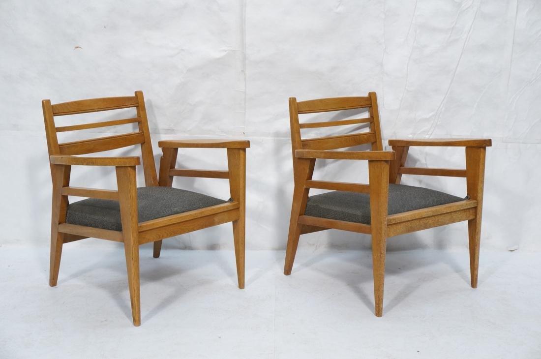 2 Modernist Oak Adjustable Side Lounge Chairs. Ad - 6