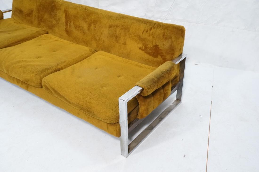 MILO BAUGHMAN Style Chrome Modernist Sofa Couch. - 2