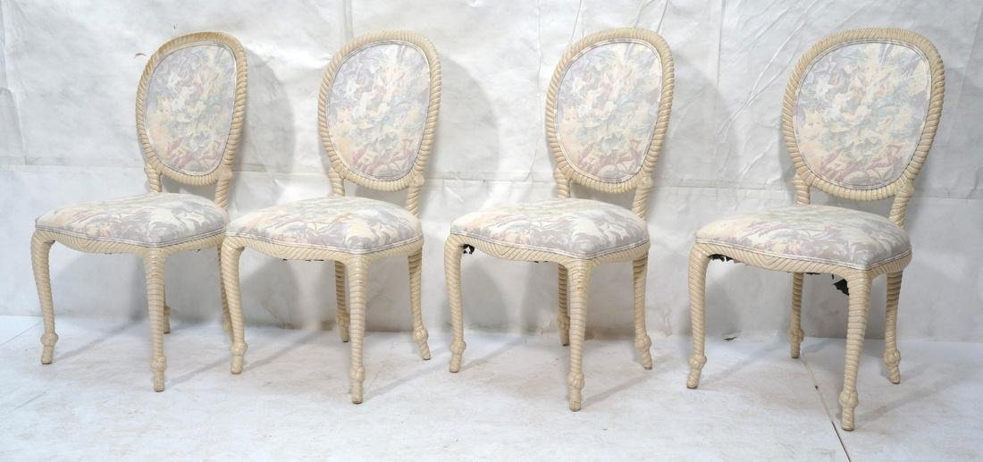 Set of 4 Decorator Rope Designed Dining Chairs. T