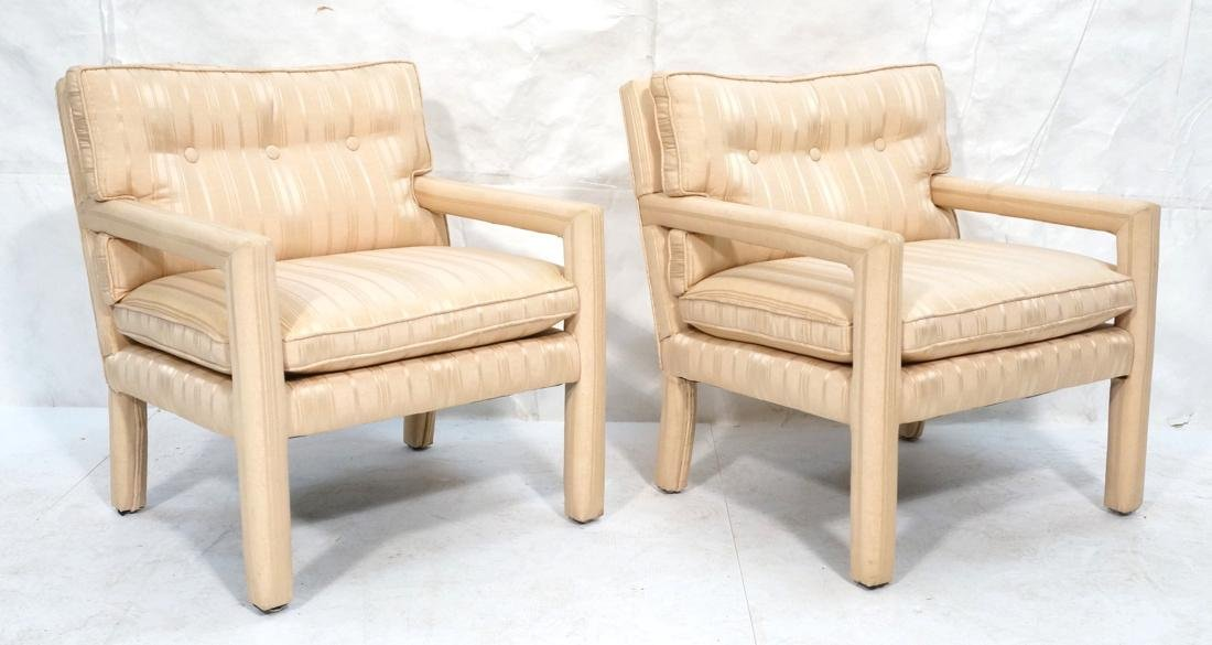 Pr Parsons Style Lounge Chairs. Striped beige uph