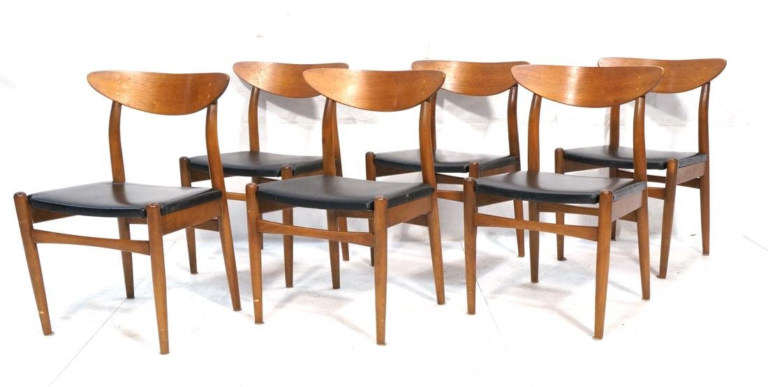Set of 6 Danish Teak Dining Side Chairs. Curved e