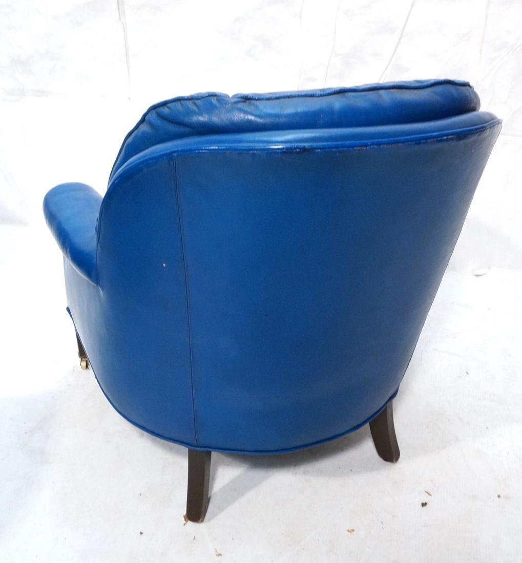 Pr Blue Leather Lounge Chairs & Single Ottoman. C - 10