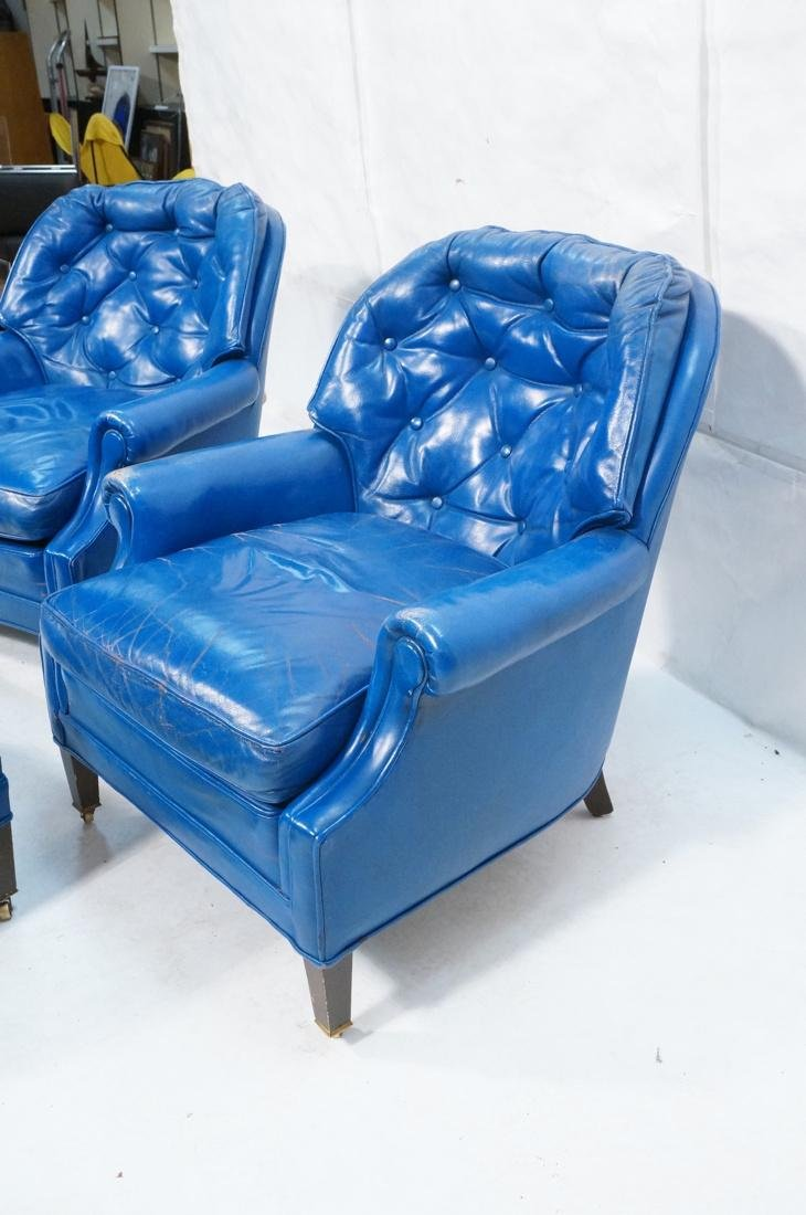 Pr Blue Leather Lounge Chairs & Single Ottoman. C - 5