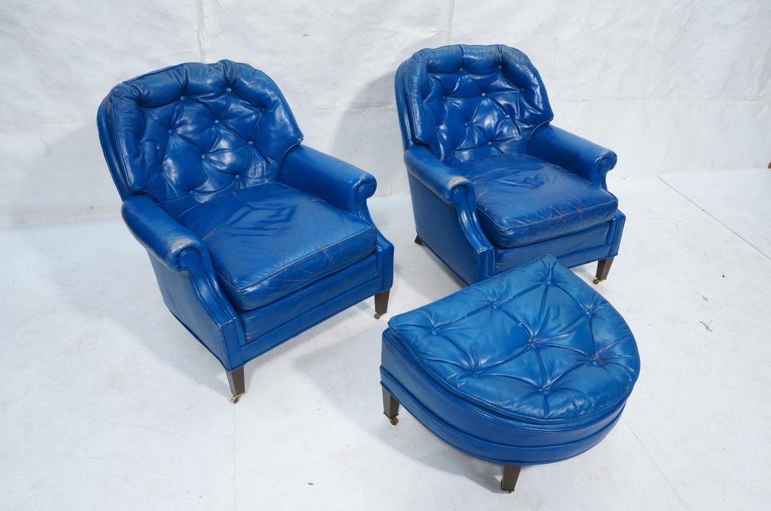 Pr Blue Leather Lounge Chairs & Single Ottoman. C - 6