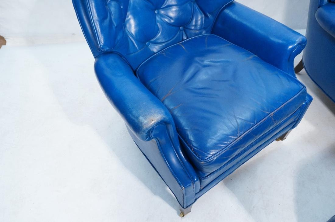Pr Blue Leather Lounge Chairs & Single Ottoman. C - 7