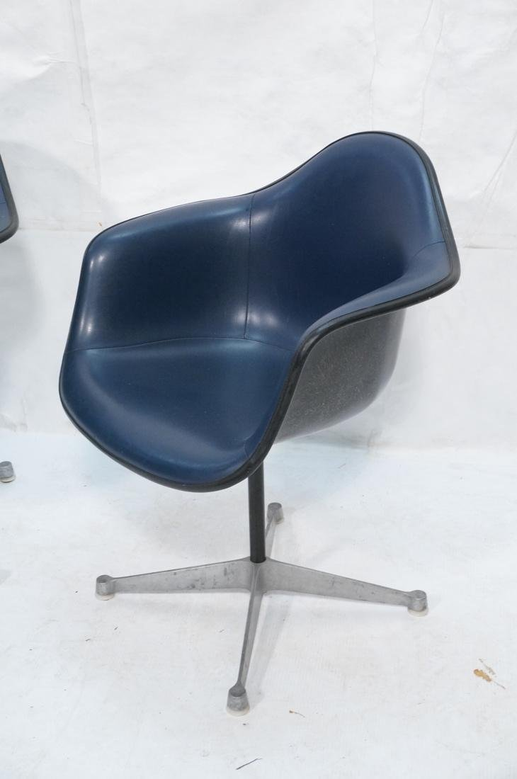 Pr HERMAN MILLER Fiberglass Shell Chairs. Blue se - 2