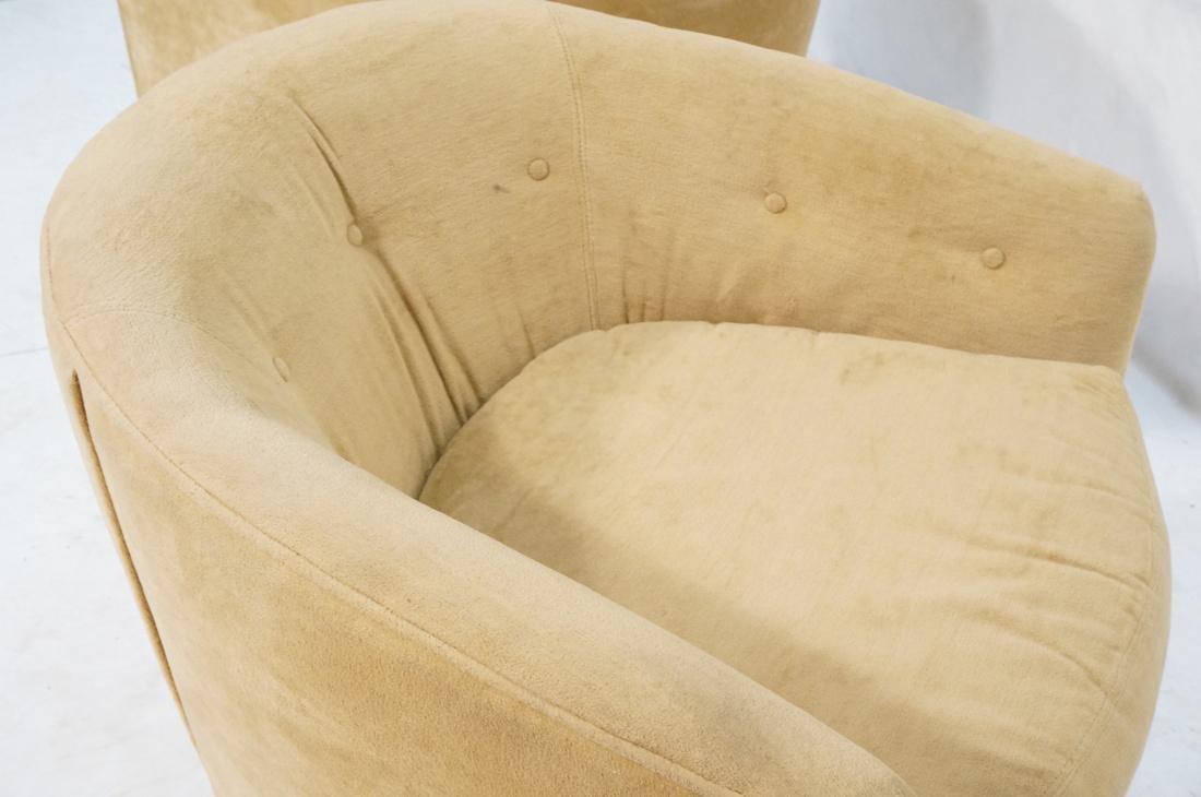 Pr MILO BAUGHMAN Style Swivel Lounge Chairs. Tan - 10