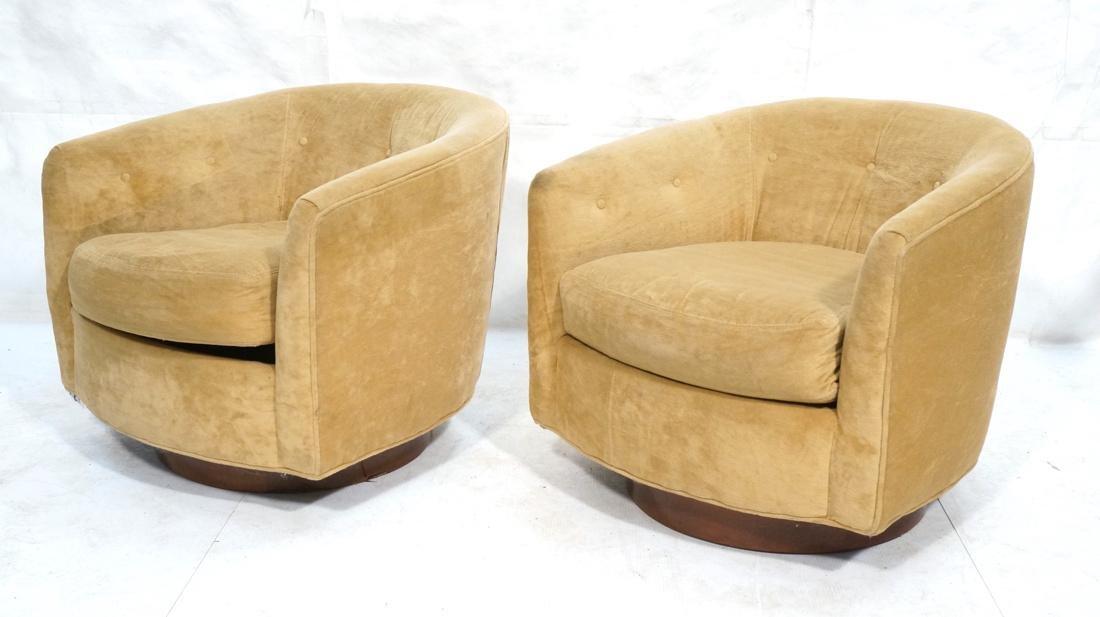 Pr MILO BAUGHMAN Style Swivel Lounge Chairs. Tan