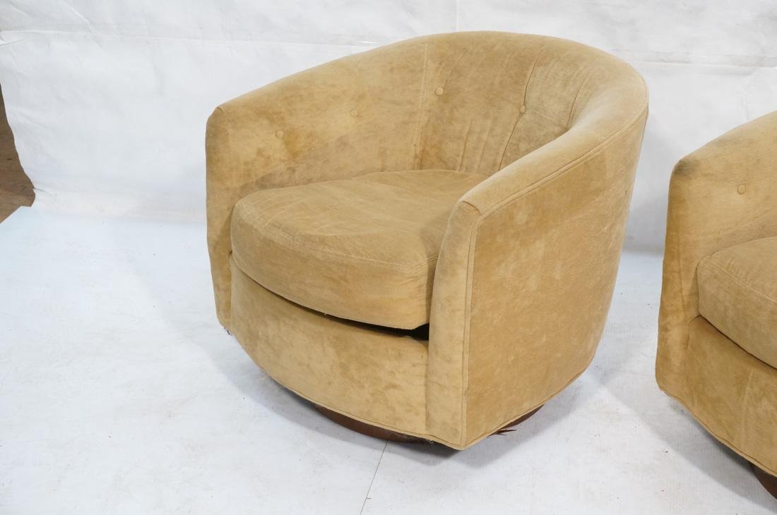 Pr MILO BAUGHMAN Style Swivel Lounge Chairs. Tan - 2