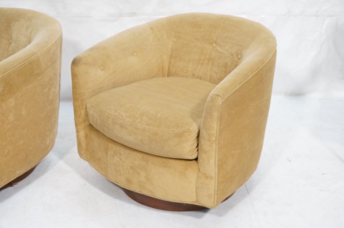 Pr MILO BAUGHMAN Style Swivel Lounge Chairs. Tan - 3